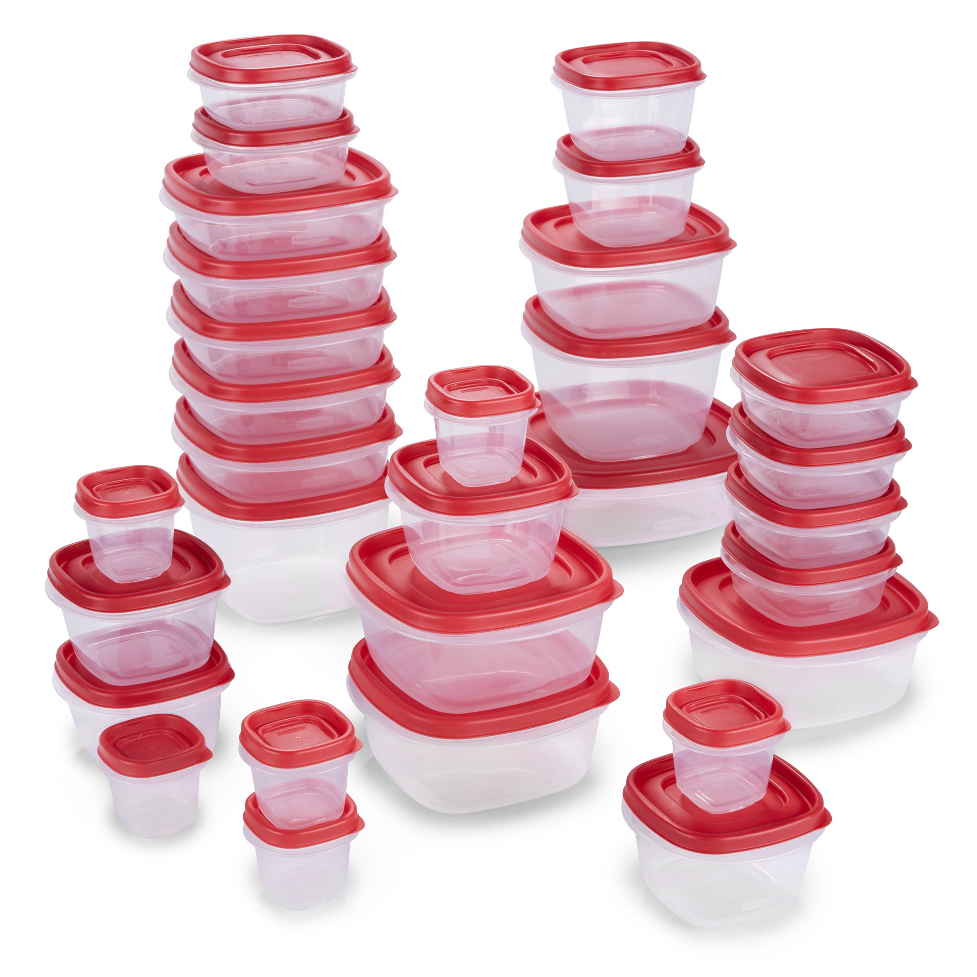 Rubbermaid 2065351 Easy Find Lids Food Storage Containers, 60 Piece, New Assortment, Racer Red