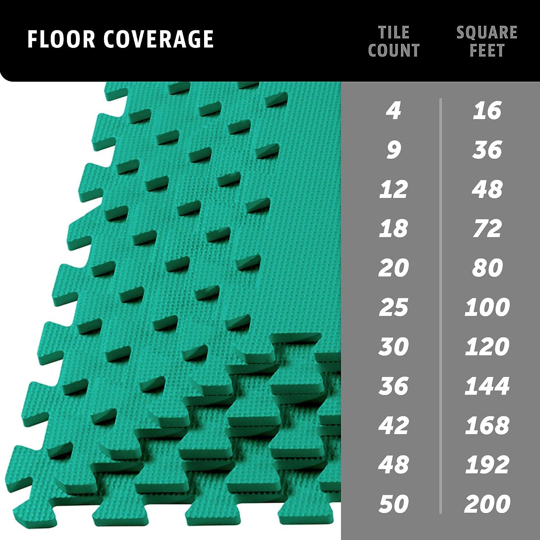 Foam Fitness Mat 24 sq Black ft 6 Tiles Velotas Thick Interlocking