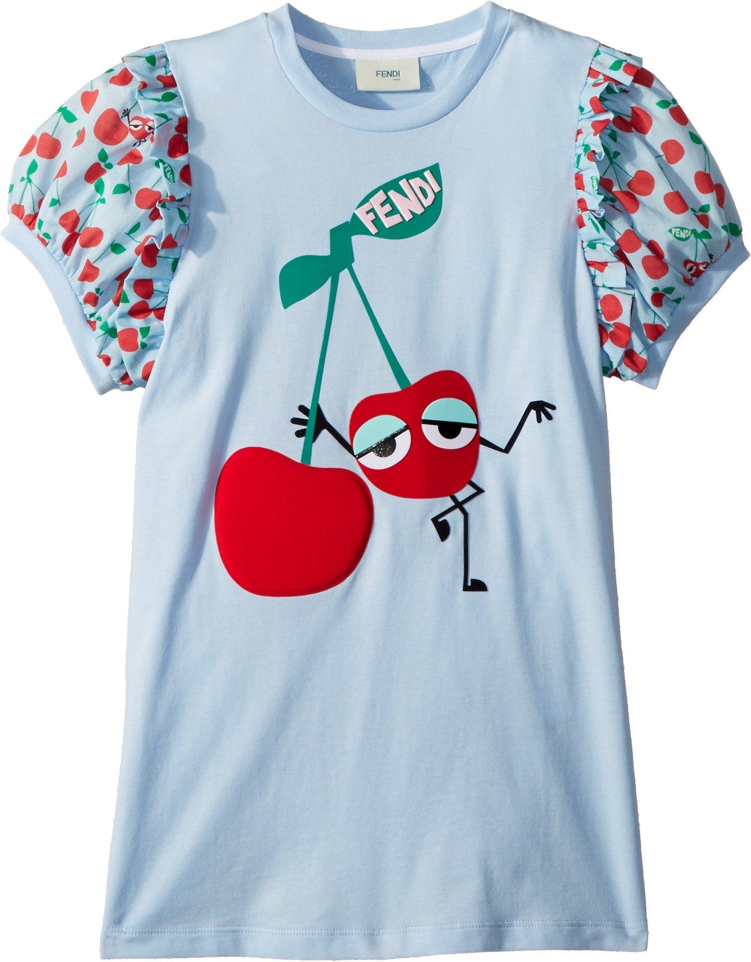 Fendi Kids Girl's Cherry Graphic T-Shirt w/Cherry Sleeves (Little Kids) Blue 8 Years