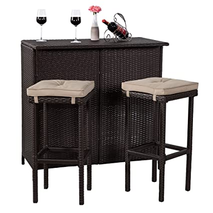 49098ade257b Cloud Mountain Patio Wicker Bar Set 3 Piece Brown Rattan Bar Table & Stools  Easy Assembly