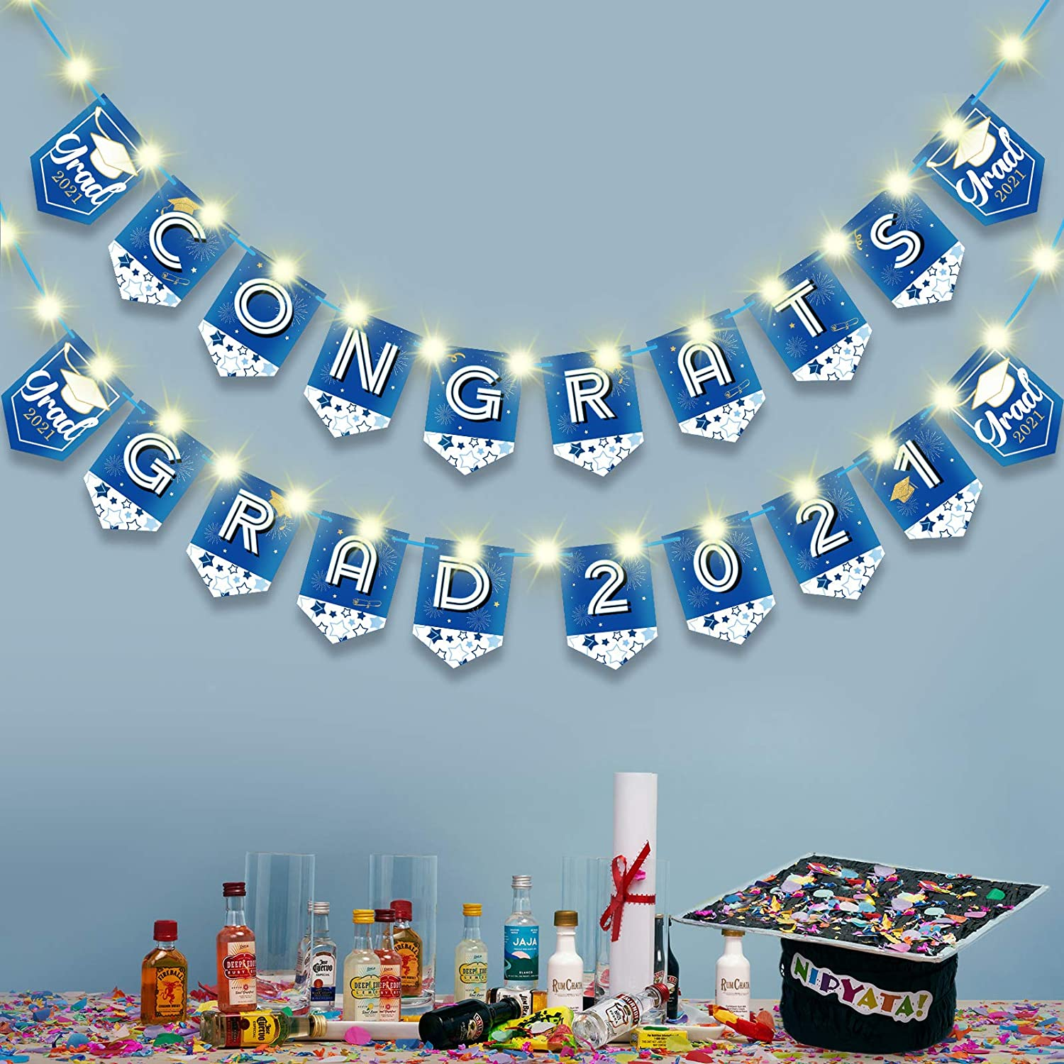 Mudder Congrats Grad Banner Decoration Graduation Party Bunting Banner with 2 Strings Lights Congrats Grad 2021 Hanging Party Banners for Graduation Party Supplies Grad Party Decor Photo Props (Blue)