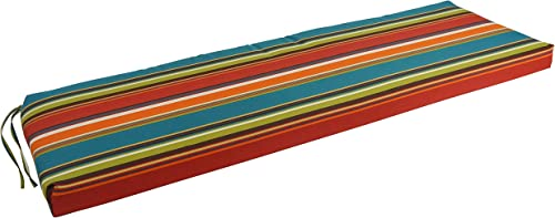 Blazing Needles Patterned Outdoor Spun Polyester Bench Cushion