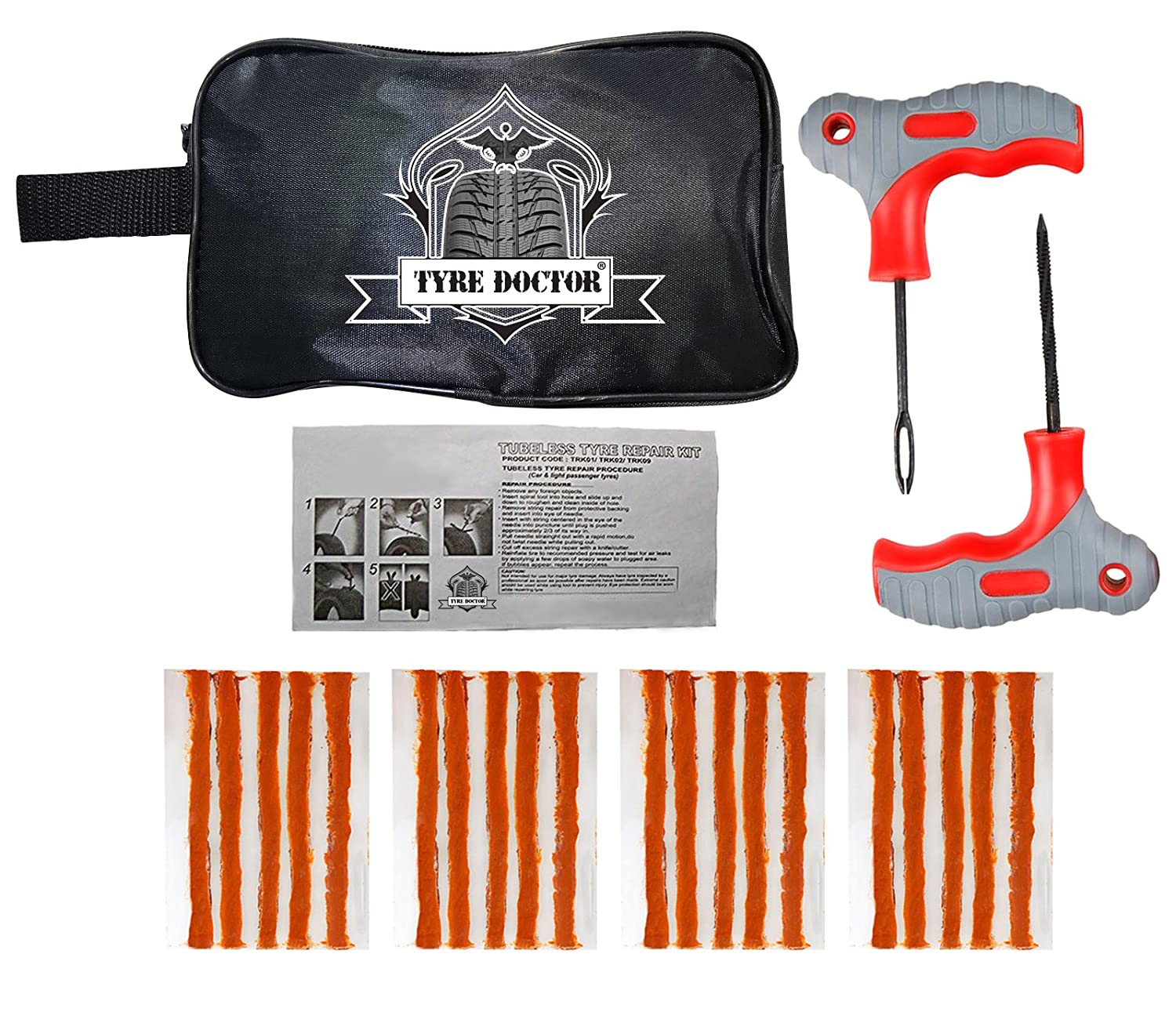 TIRE DOCTOR /® Heavy Duty Emergency Car Van Motorcycle Kit de reparaci/ón de pinchazos de neum/áticos sin c/ámara