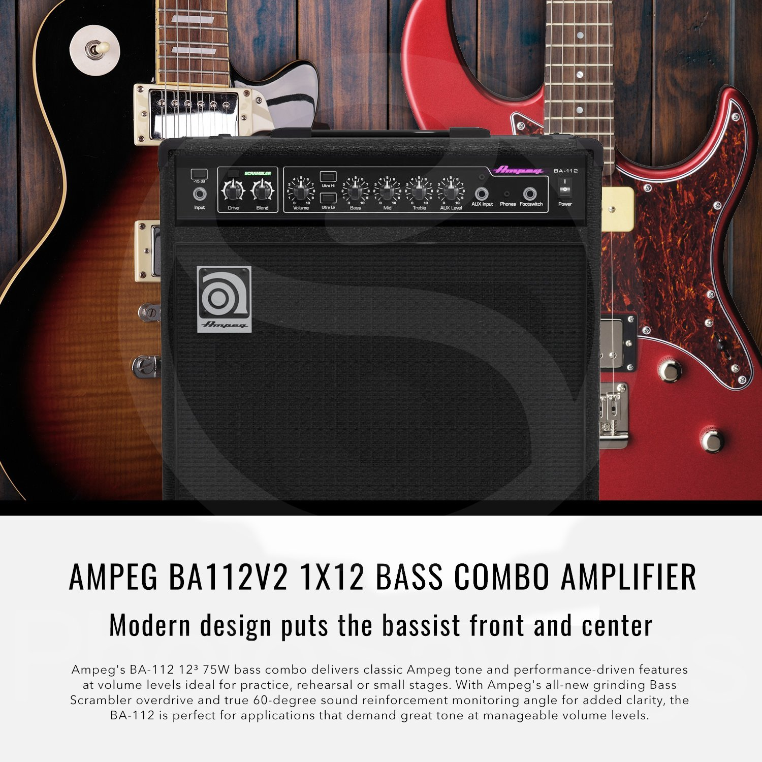 Ampeg Ba 112v2 75w 12 Bass Combo Amplifier And Premium Voice Scrambler Circuit Bundle W Tc Electronic Mojomojo Overdrive Tube Amp Effect Pedal Mixing