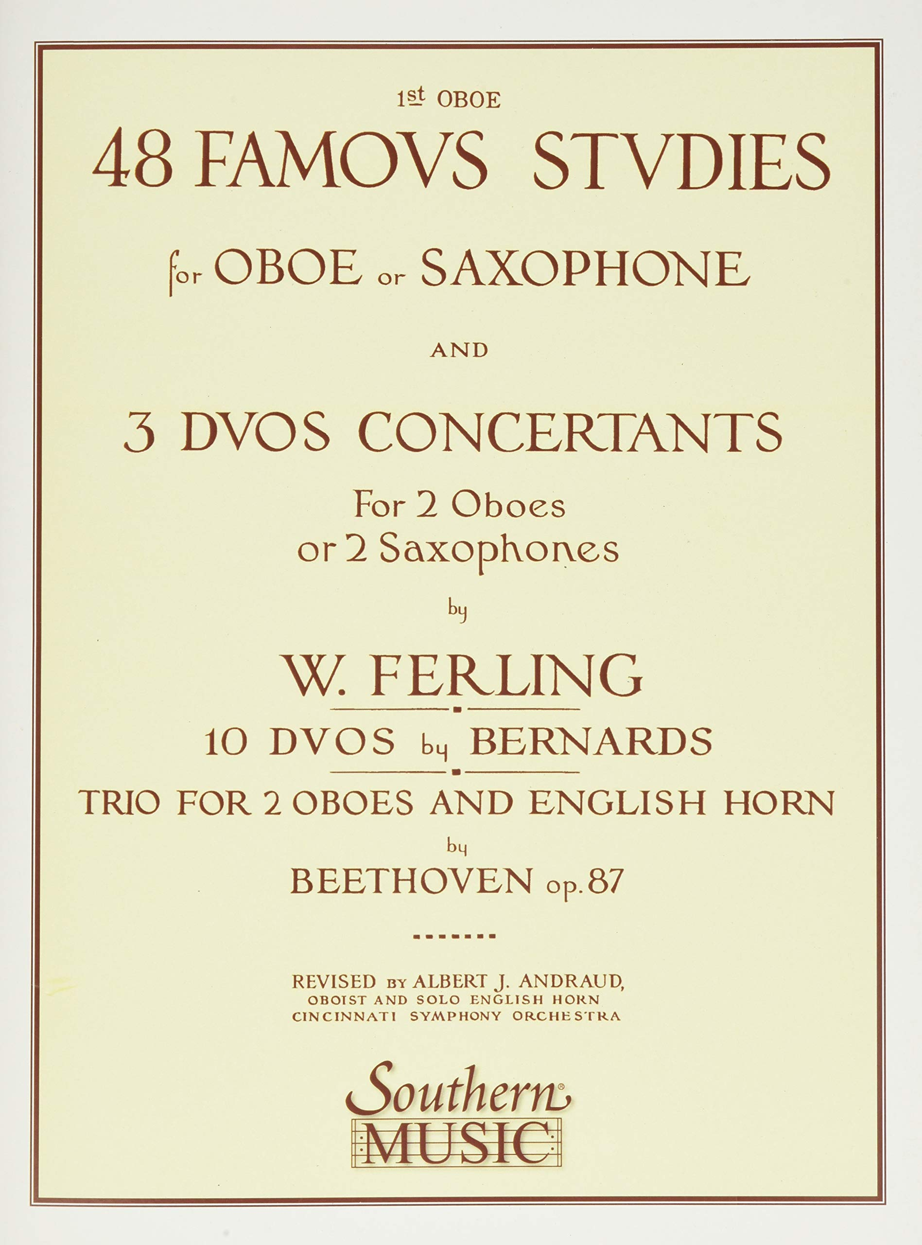 Franz Wilhelm Ferling Southern Musi 48 Famous Studies, 1st and 3rd Part Oboe