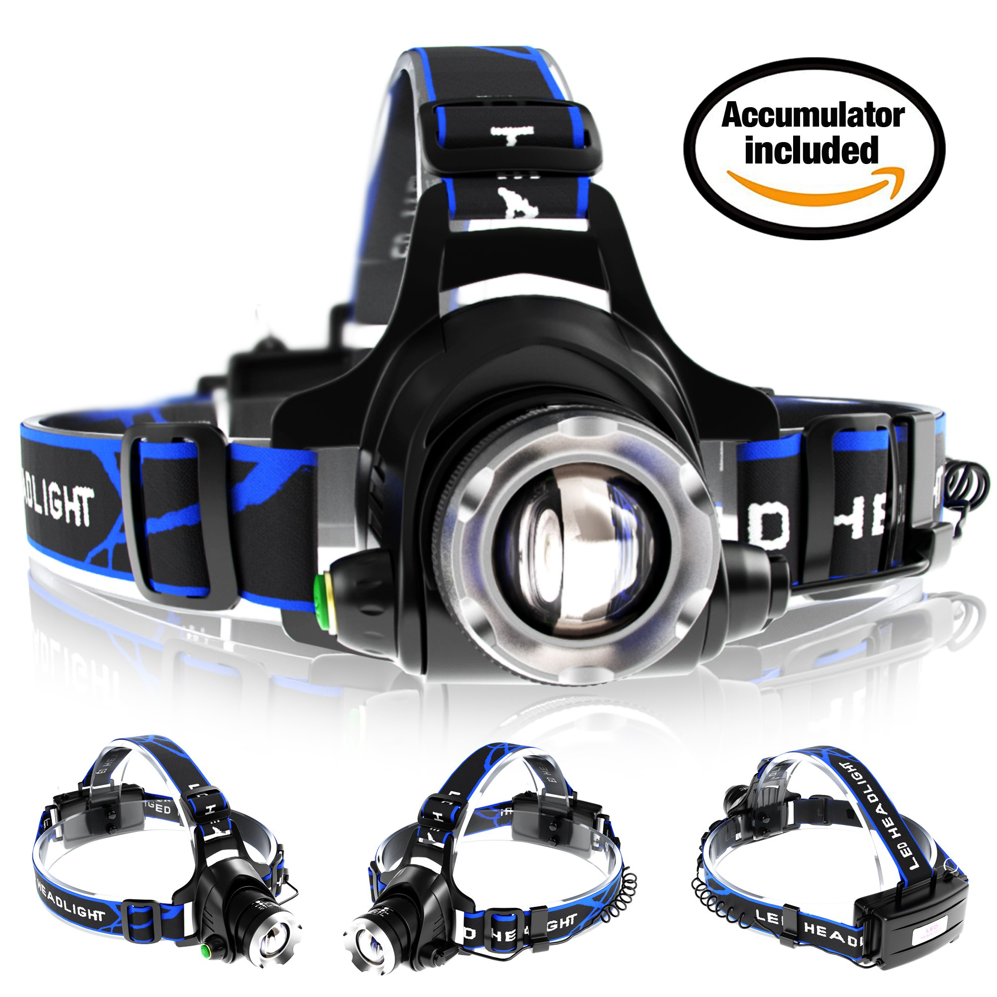 Zoomable Rechargeable Headlamp - LED Headlight Flashlight with Batteries - Head Flashlight - Best Tactical Headlamp - 2000 Lumen Hard Hat Light - Brightest Waterproof Led Head Lamp (Black) by Monger-Trend