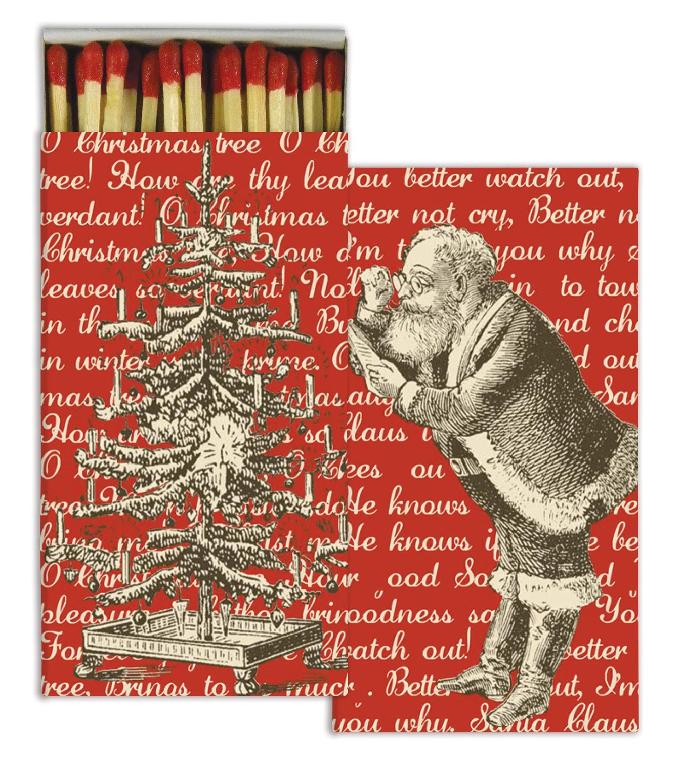 Christmas Carols Decorative Match Boxes with Wooden Matches (Set of 10)
