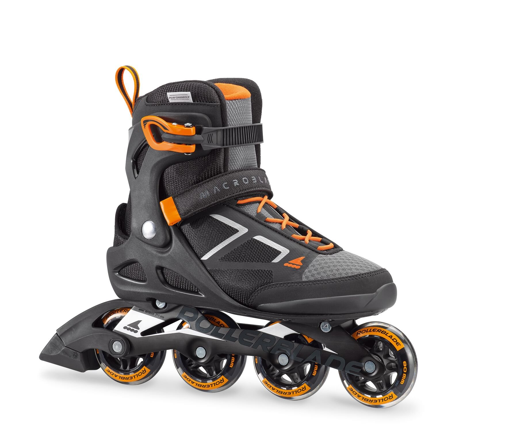 Rollerblade Rollerblade Macroblade 80 Mens Adult Fitness Inline Skate - Black/Orange - 80 mm / 82A Wheels with SG5 Bearings - Performance Skates - US size 10, Black/Orange, Size 10 by Rollerblade