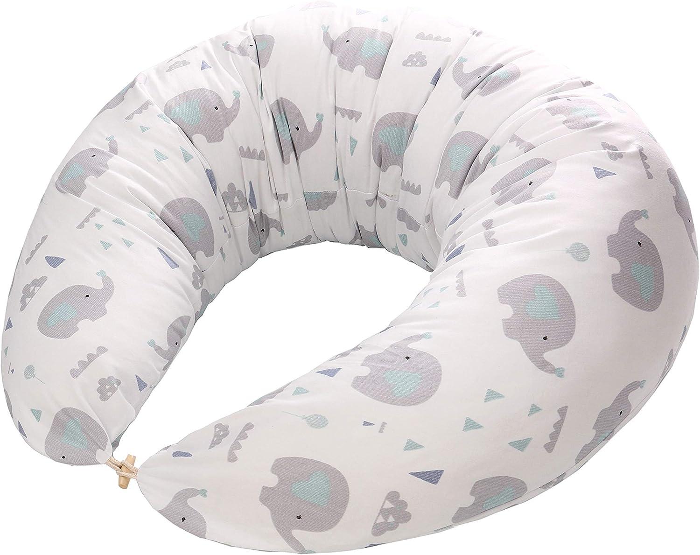 Miracle Baby Almohada Embarazada Multifuncional,Cojines de Lactancia Extraíble y Lavable, Almohada de Lactancia Materna + funda de almohada 100% algodon para Madre y Bebé-190cm x 38cm(Elefante)