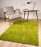 "VIBRANT GREEN SOFT LUXURY SHAGGY RUG 5 SIZES AVAILABLE 110cmx160cm (3ft7"" x 5ft3"")"