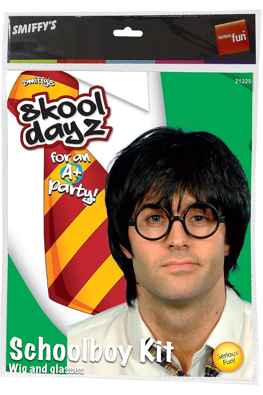 SmiffyS 21225 Set De Colegial Con Peluca Y Gafas, Negro, Tamaño Único: Amazon.es: Juguetes y juegos
