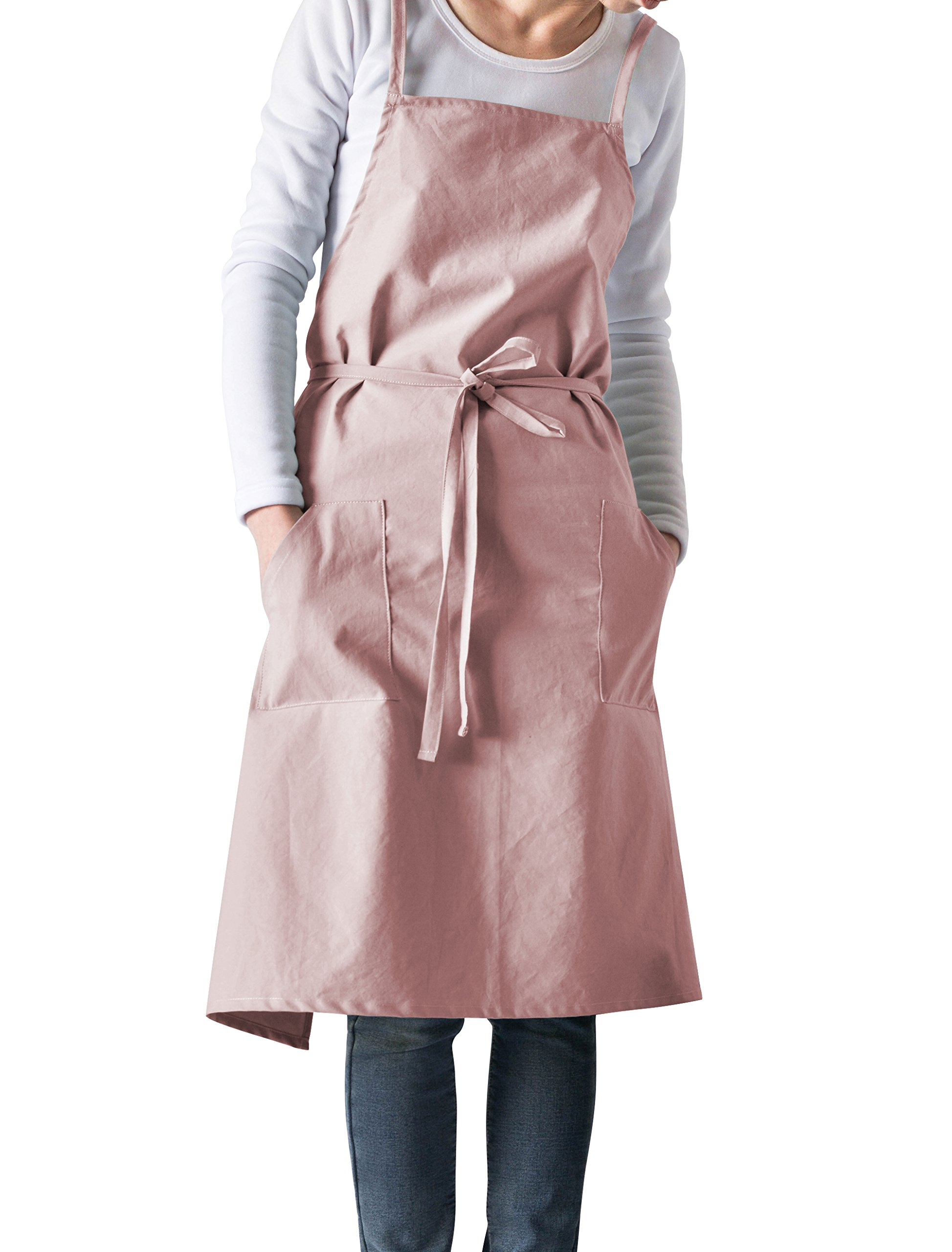 Albabara Cotton Kitchen and Cooking Apron Unisex Womens Professional Chef Bib Aprons Pinafore Cross-back straps with Pockets