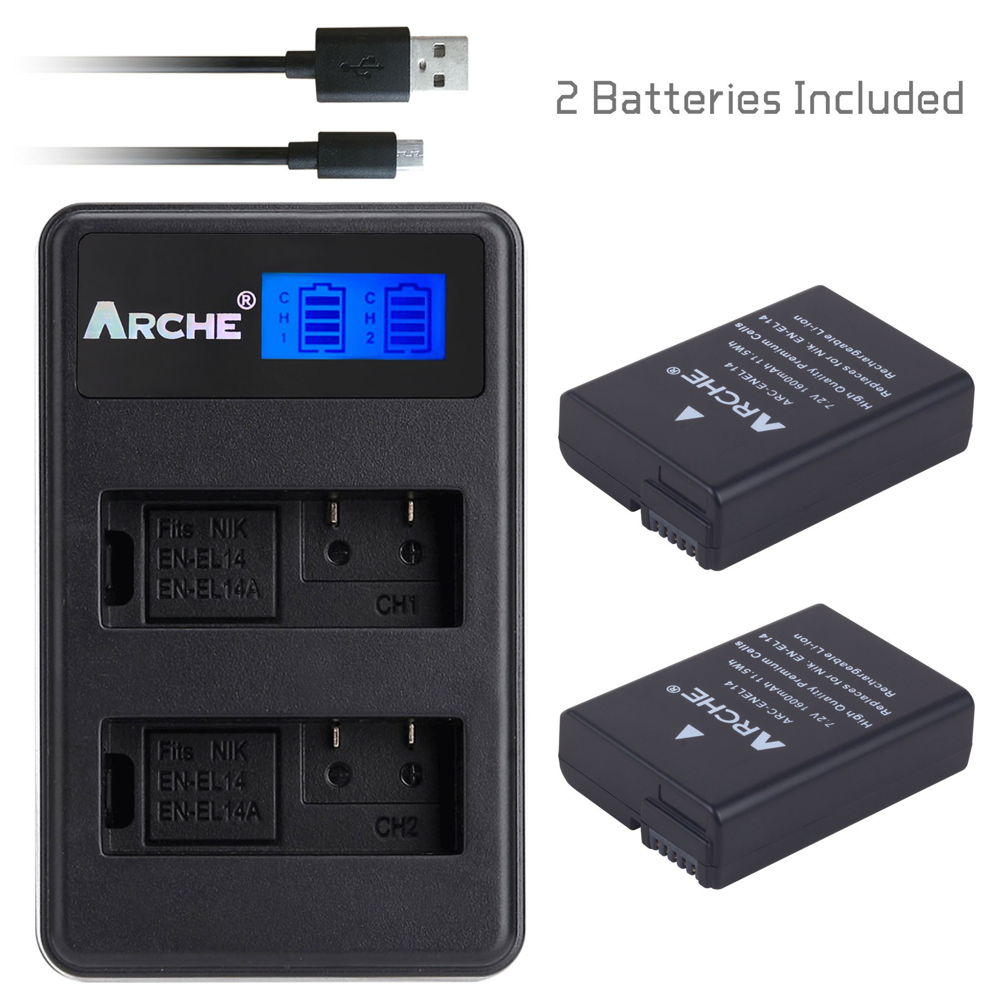 ARCHE EN-EL14 EN-EL14A <2 Pack> Battery and LCD Dual Charger Kit for [Nikon MH-24 D3100 D3200 D3300 D3400 D5100 D5200 D5300 D5500 D5600 Coolpix P7000 Coolpix P7100 Coolpix P7700 Coolpix P7800 Df DSL]