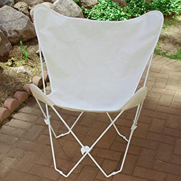 Retro Folding Butterfly Chair And Natural Beige Cover With White Frame