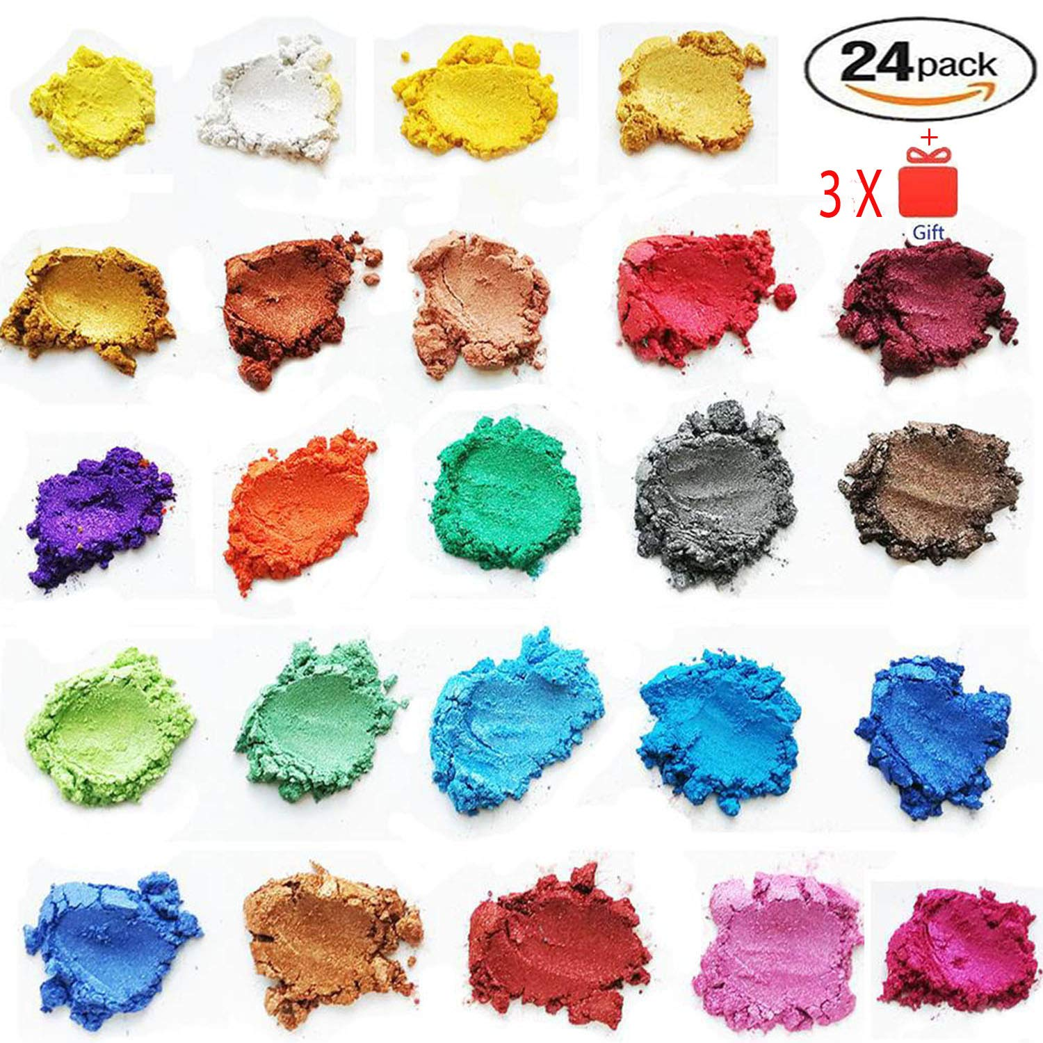ORAK [24 Assorted Colors] Cosmetic Grade Natural Mica Powder Pigment Set For Bath Bomb, Soap, Epoxy, Resin, and Slime Making - Non Toxic Pearl Color Dyes For Makeup and Nail Art