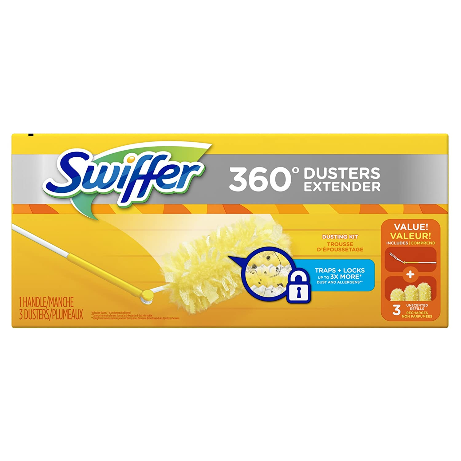 Swiffer 360 Dusters Extendable Handle Starter Kit, 3 Count Duster Refill 44750