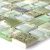 Glas Mosaik Fliesen Matte in Gr/ün mit Glitzer MT0020