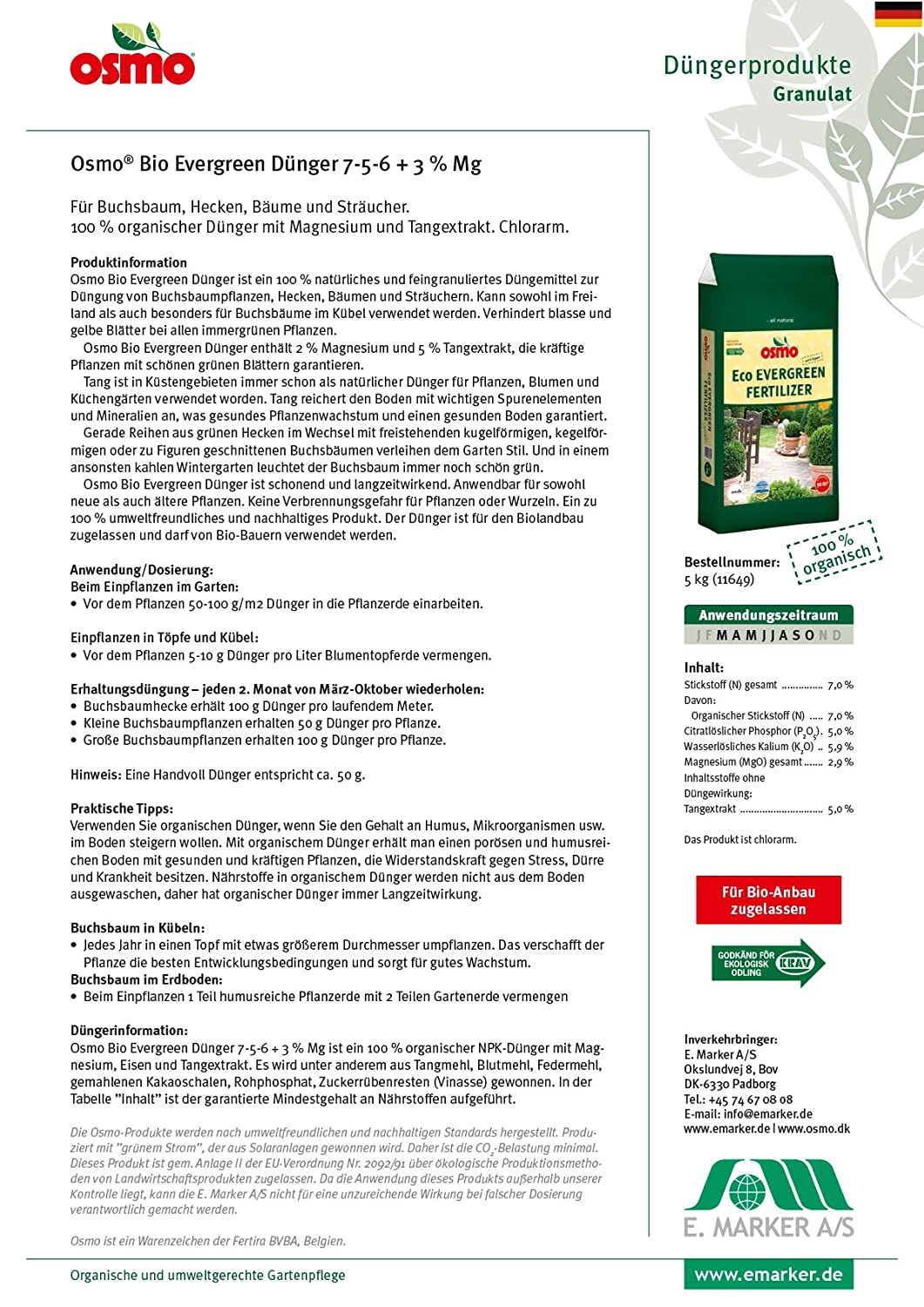 Osmo Organic Evergreen Fertiliser 7/5/6 + 3% Mg 5kg Bag: Amazon.co.uk:  Garden U0026 Outdoors