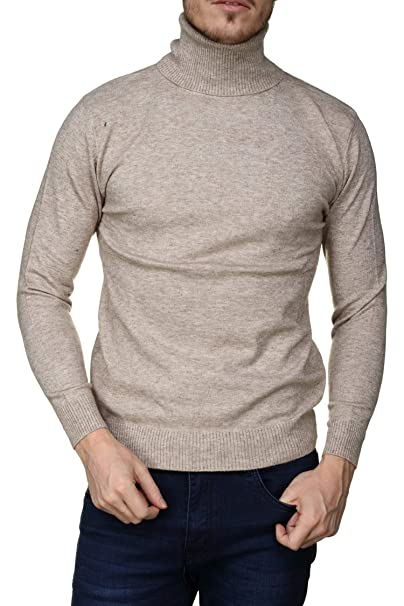 Yves Enzo - Pull habillé Robert Col Roule Beige  Amazon.fr  Vêtements et  accessoires 6f412a729bb8