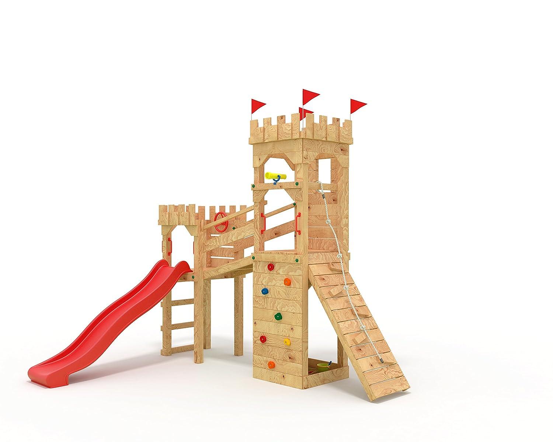 Rot ohne Schaukel Spielturm - Ritterburg - mit 2 Klettertürmen -  Rote Rutsche  Brücke Kletterwand Sandkasten