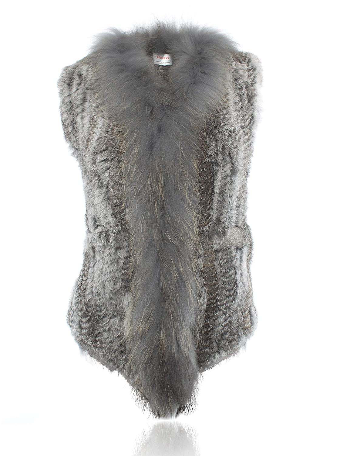 Natural Grey HEIZZI Genuine Rabbit Fur Vest with Pocket