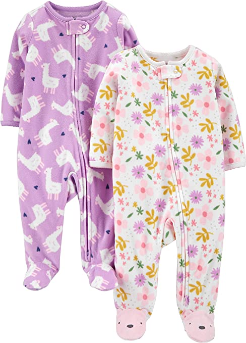 2er-Pack Simple Joys by Carters Baby-M/ädchen 2-Pack Fleece Footed Sleep and Play