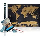 World Scratch Off Travel Map – Large Scrape-Off Earth Wall Poster For Adventurous Travelers – Perfect Traveller's Personalized Gift, Stylish Memory Keeper With FREE Scratch Pen & E-Book