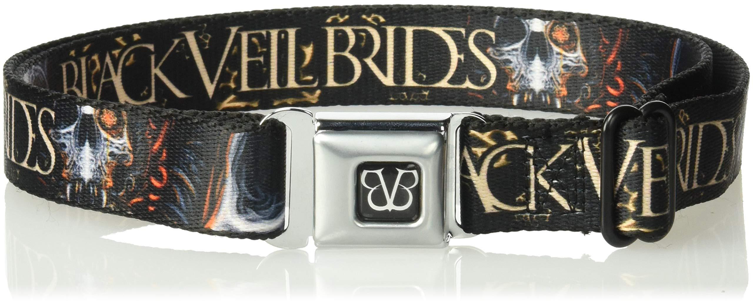 Buckle-Down Men's Seatbelt Belt Kids, Veil Brides Melting Skull Black/Grays/Orange/tan, 1.0'' Wide-20-36 Inches