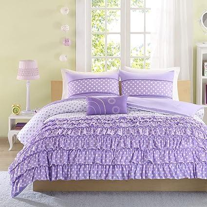 Mizone Girls 4 Piece Comforter Set   Purple. Full/queen Girls Comforter Sets.  Full Or Twin Comforter Set For Teens. Gorgeous Purple Girls Bedding Sets.
