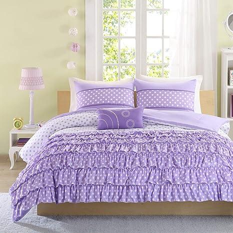 Mizone Girls 4-piece Comforter Set - Purple. Full/queen Girls Comforter  Sets. Full or Twin Comforter Set for Teens. Gorgeous Purple Girls Bedding  ...