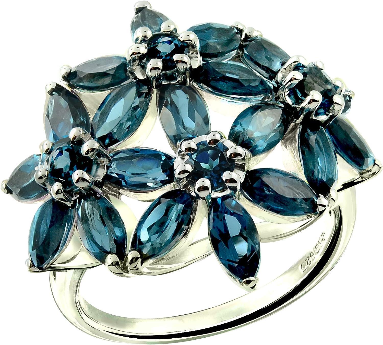 Rhodium-Plated Finish RB Gems Sterling Silver 925 Ring Genuine Gemstone Marquise Shape Flower Design