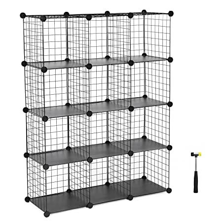 SONGMICS 40 Cube Interlocking Storage Rack With Metal Wire Mesh Inspiration Wire Display Stands Uk