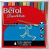 Berol Colour Broad Pen 1.7mm Nib - Assorted Colours (Pack of 12)