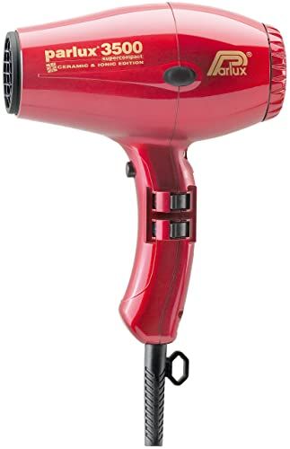 Parlux 3500 Supercompact - Secador profesional con tecnología cerámica iónica, color rojo