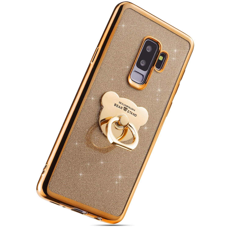 Herbests Coque Compatible avec Galaxy S9 Plus Bling Glitter Paillette Ultra Mince Soft Silicone TPU Galvanoplastie Coque avec Ours Support DAnneau Caoutchouc Bumper Case,Noir