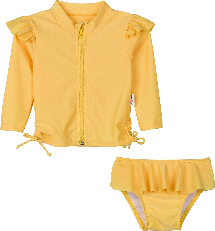 SwimZip Girls Flutter Love Long Sleeve Rash Guard 2 Piece Swimsuit Set