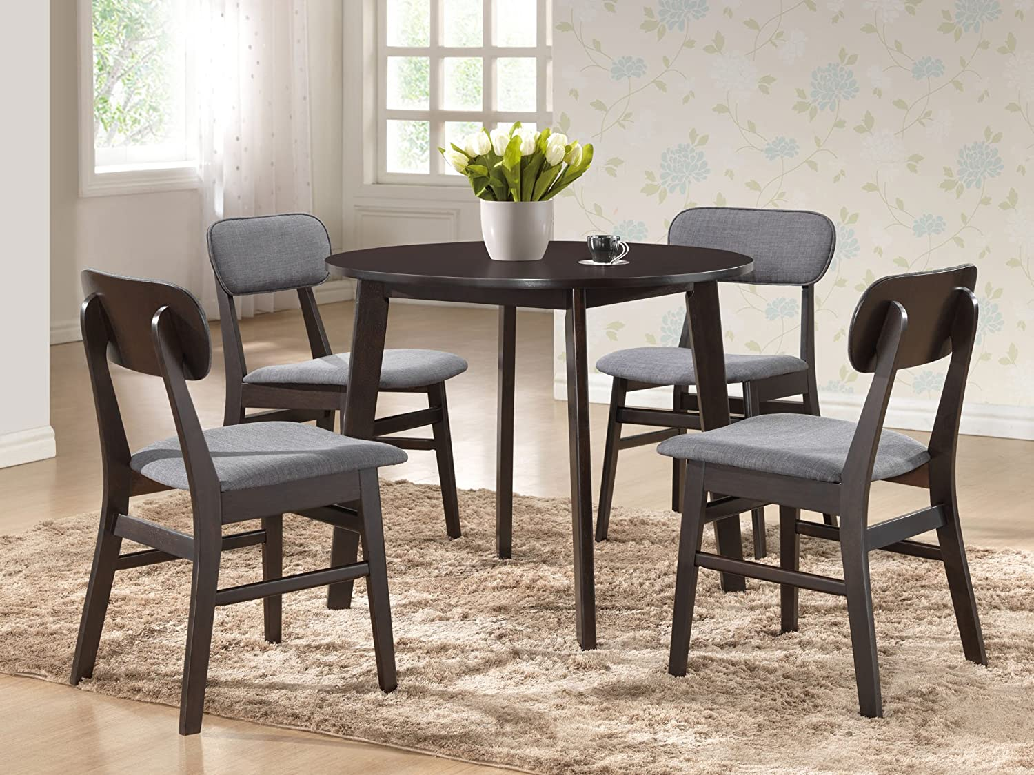 Amazon.com - Baxton Studio Debbie Mid-Century Round Dining Table ...