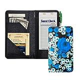 Server Book with Zipper Pocket, 5x9 Waitress Book with Money Pocket, Magnetic Closure Pocket for High Volume, Restaurant Waitstaff Organizer Fit Waitress Apron (Blue Flower)