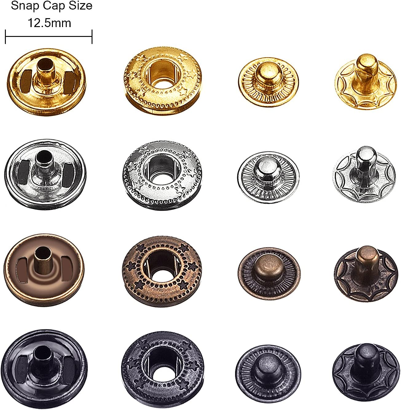 80 Set Snap Fasteners Snaps Button Press Studs with 4 Pieces Clothing Snaps Kit Fixing Tools 12.5 mm in Diameter ,Metal Snaps for Clothing Leather Craft Bracelet Jeans Wear Jacket Bags Belt