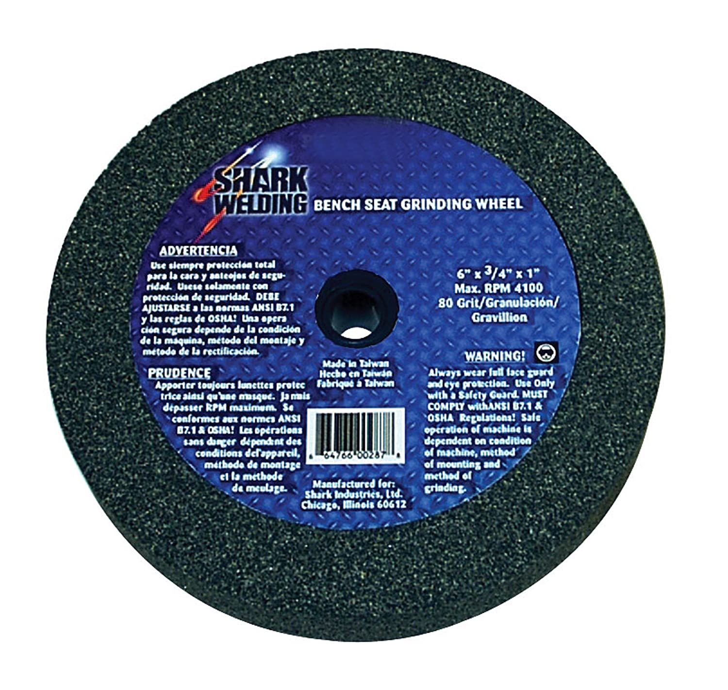 Shark 12777    7-Inch by 1-Inch Bench Seat Grinding Wheel with Grit-36