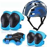 MOVTOTOP Kids Helmet and Knee Pad Set,Skateboard Helmet and Knee Pads Elbow Wrist Pads Set for Toddlers Ages 3-8…