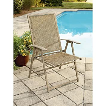 Garden Oasis Long Beach Folding Chair. Weather Resistant Sling Fabric.  Steel Frame.