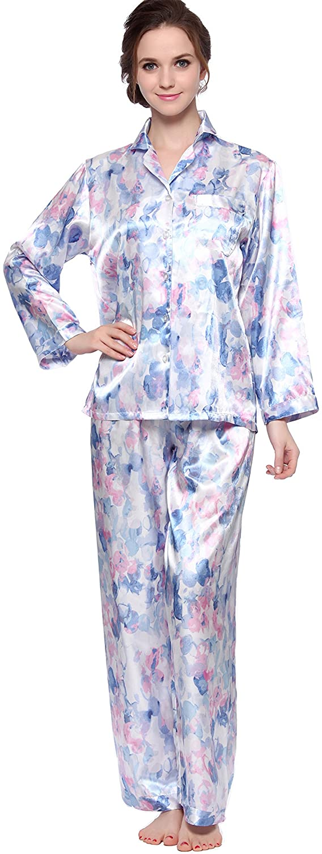 Lavenderi Women's classical satin pajama sets silky sleepwear soft nightwear Sunrise Garment