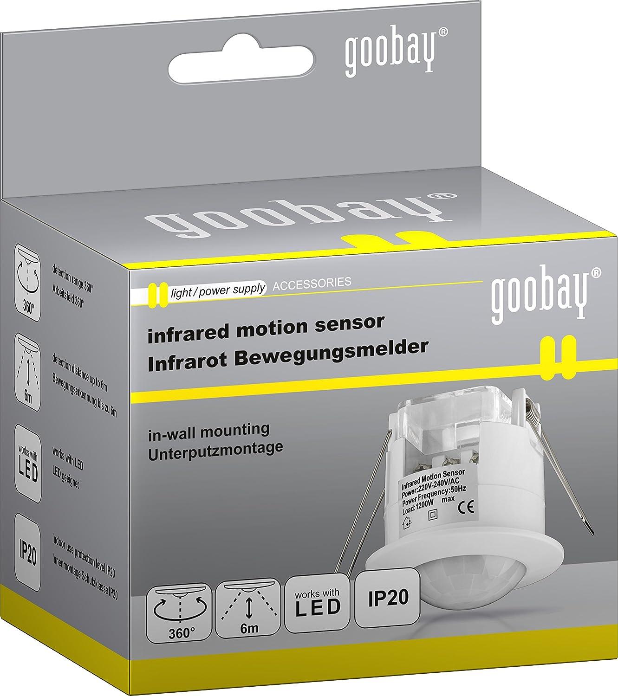 Goobay IDU Sensor infrarrojo pasivo (PIR) Alámbrico Techo Blanco - Sensor de movimiento (Sensor infrarrojo pasivo (PIR), Alámbrico, Techo, Blanco, IP20, ...