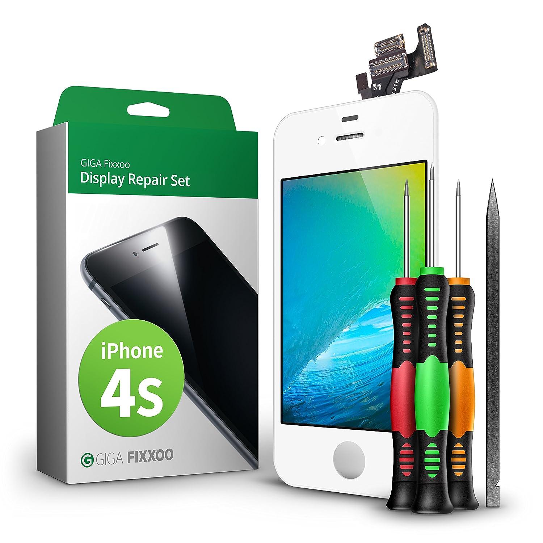 GIGA Fixxoo Kit di Ricambio per Schermo di iPhone 4s, Completo con LCD Blanco, Touch Screen Display Retina in Vetro, Fotocamera e Sensore di Prossimità: ...