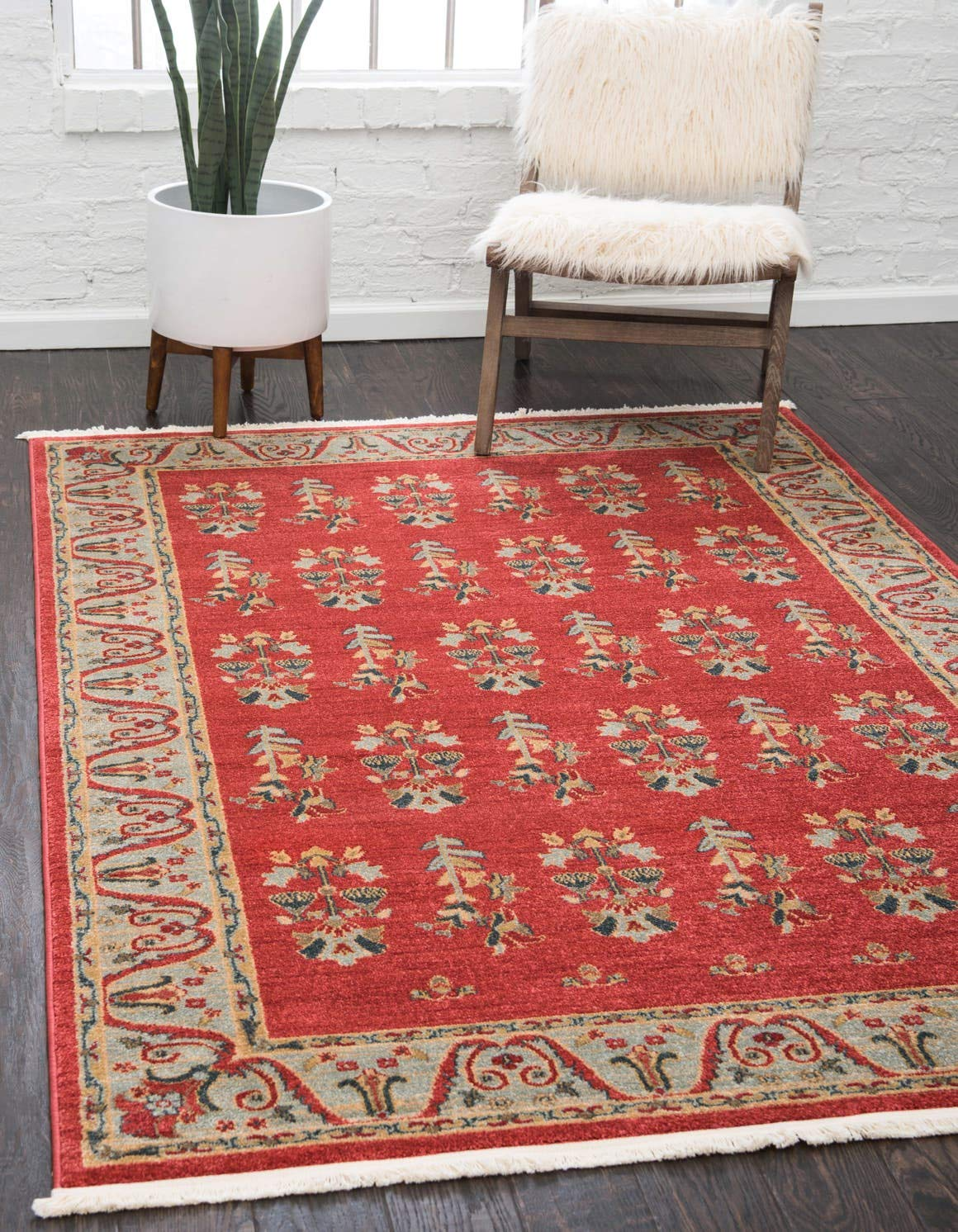 Unique Loom Fars Collection Tribal Modern Casual Red Area Rug 6 0 x 9 0