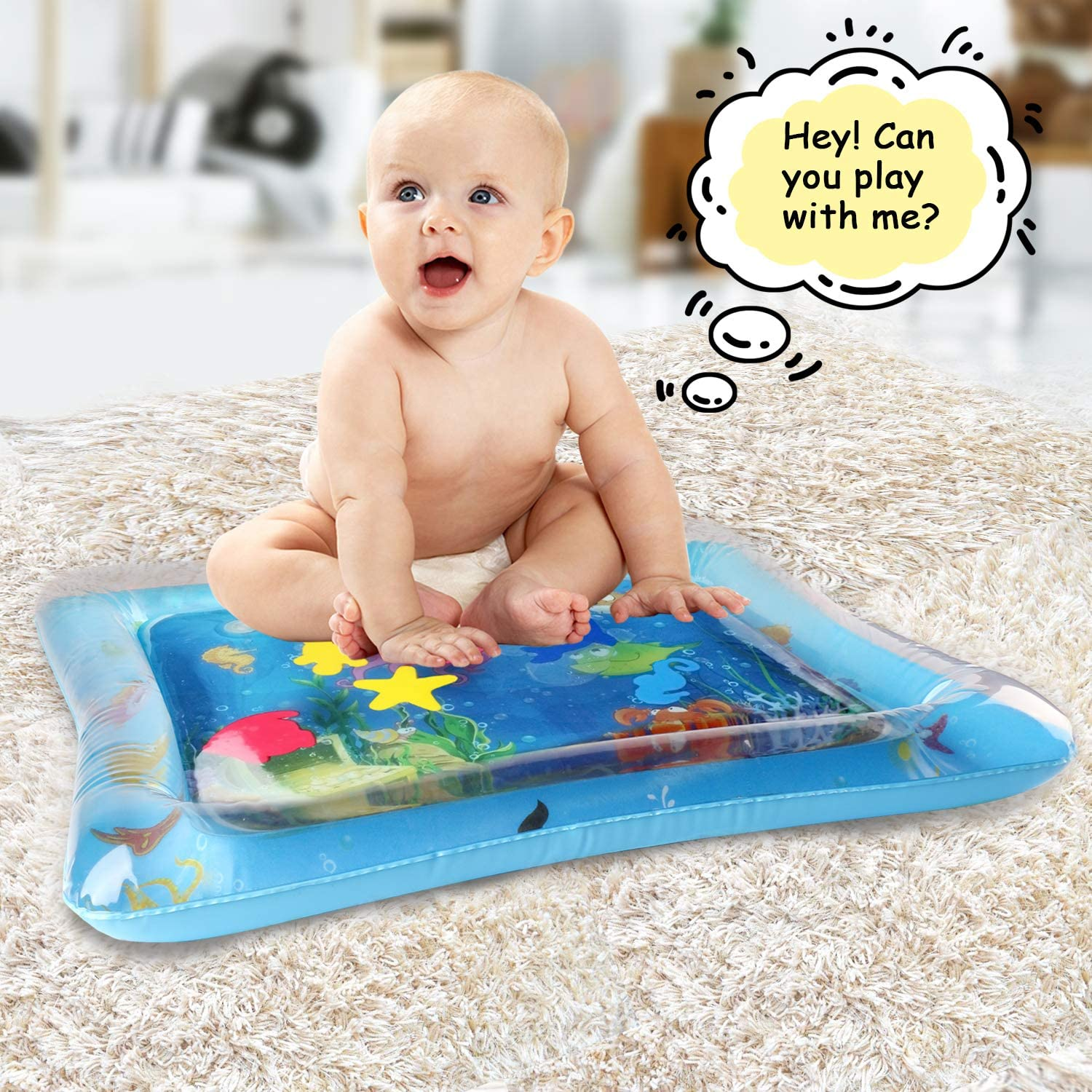 KidPal Tummy Time Water Play Mat Inflatable Infant Playmat Toys for Toddlers Babies Great Fun Water Mat for Baby Stimulation Growth
