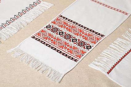 Único punto Cruz toalla bordada hecha a mano decoración de la boda ideas