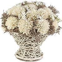 Dekoratif Çiçek Hasır Sepette Zınnıa 20 Cm