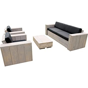 Bauholz Möbel Gartenmöbel Garnitur Lounge Set Tisch, 2 Sessel, 1 ...